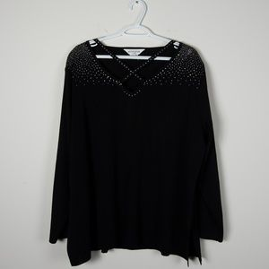 Misook Rhinestone Embellished Long Sleeve Top  3X